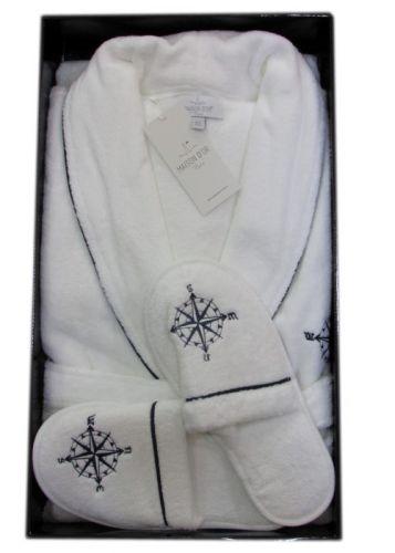 Мужской махровый халат Marine Club белый