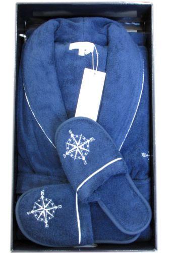 Мужской махровый халат Marine Club синий