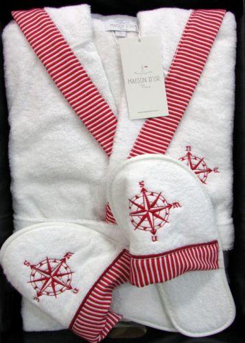 Мужской махровый халат с капюшоном Marine Club бело-красный