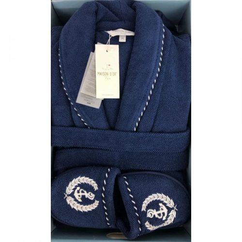 Мужской махровый халат Michel Sailing синий