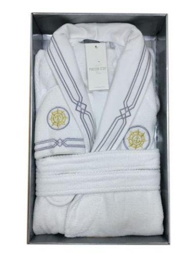 Мужской махровый халат Eleganze Marine белый