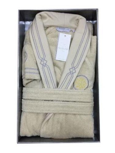 Мужской махровый халат Eleganze Marine бежевый