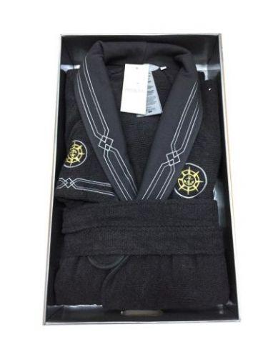 Мужской махровый халат Eleganze Marine антрацит