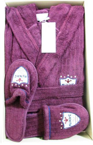 Мужской махровый халат с капюшоном Rodolphe баклажан