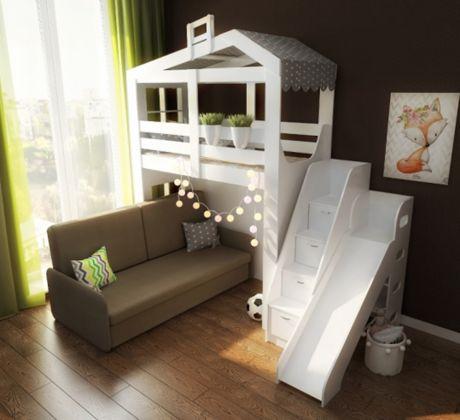Домик Сказка с нишей, диваном, лестницей и горкой