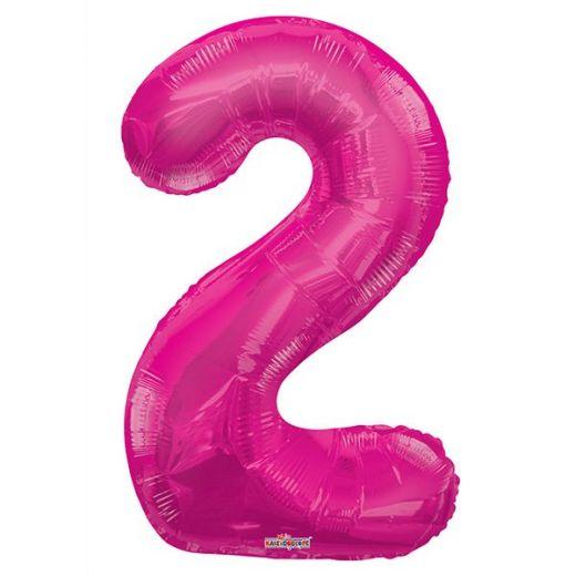 Фигурный шарик из фольги Цифра 2 розовая 86см