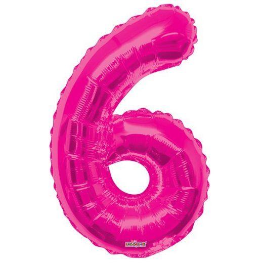 Фигурный шарик из фольги Цифра 6 розовая 86см