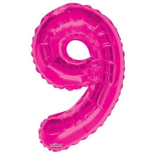 Фигурный шарик из фольги Цифра 9 розовая 86см