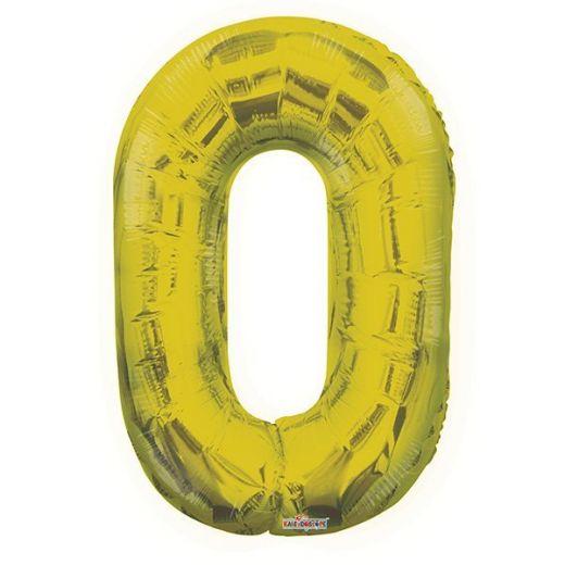 Фигурный шарик из фольги Цифра 0 золото 86см