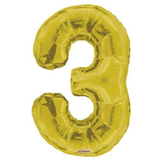 Фигурный шарик из фольги Цифра 3 золото 86см