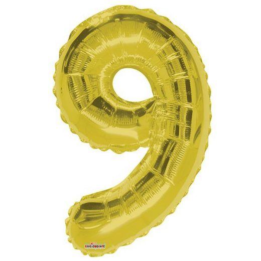 Фигурный шарик из фольги Цифра 9 золото 86см
