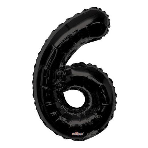Фигурный шарик из фольги Цифра 6 черная 86см Уценка