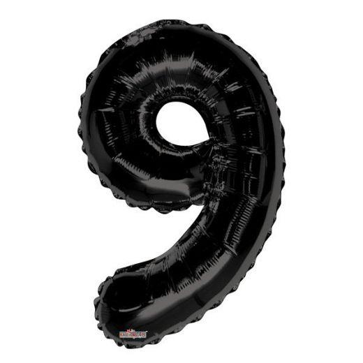 Фигурный шарик из фольги Цифра 9 черная 86см Уценка