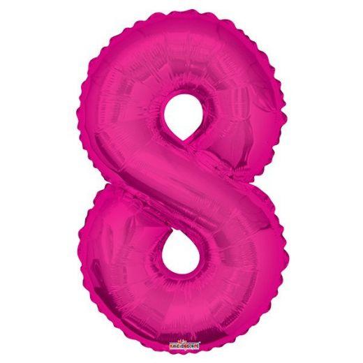 Фигурный шарик из фольги Цифра 8 розовая 86см