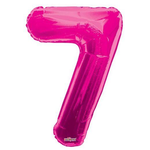 Фигурный шарик из фольги Цифра 7 розовая 86см