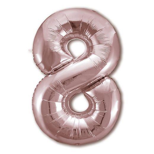 """Фигурный шарик из фольги Цифра 8 Розовое Золото 40""""/102см"""