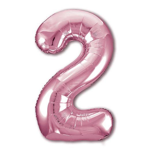 """Фигурный шарик из фольги Цифра 2 Фламинго 40""""/102см"""