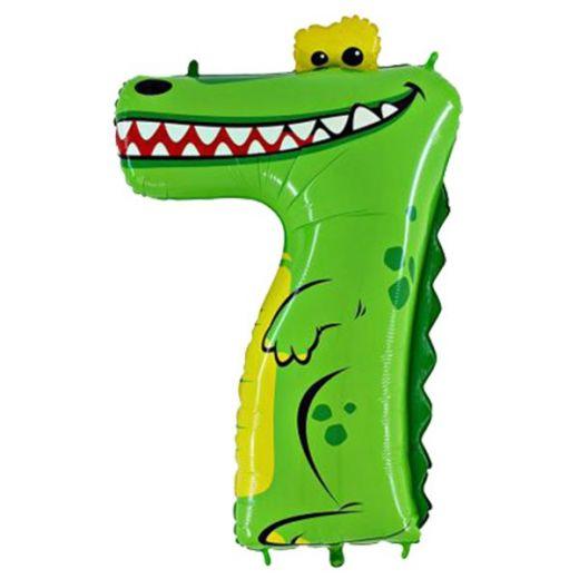 """Фигурный шарик из фольги Цифра 7 Крокодил 36""""/91см"""