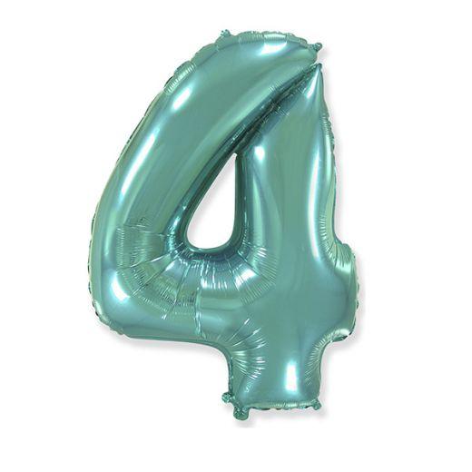 """Фигурный шарик из фольги Цифра 4 Tiffany 40""""/102см"""