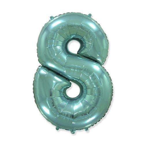 """Фигурный шарик из фольги Цифра 8 Tiffany 40""""/102см"""