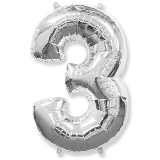 Фигурный шарик из фольги Цифра 3 серебро 102см