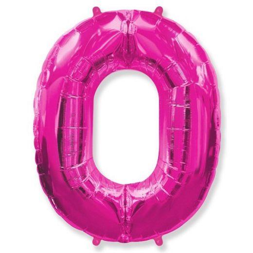 Фигурный шарик из фольги Цифра 0 розовая  102см
