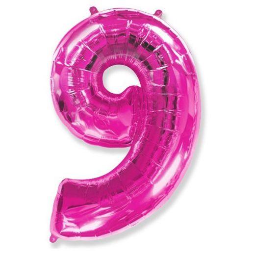 Фигурный шарик из фольги Цифра 9 розовая 102см