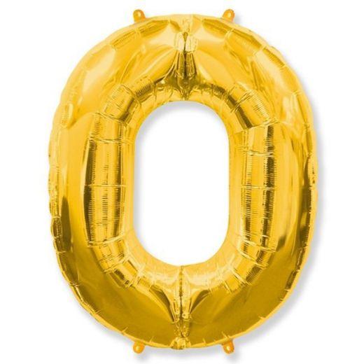 Фигурный шарик из фольги Цифра 0 золото 102см