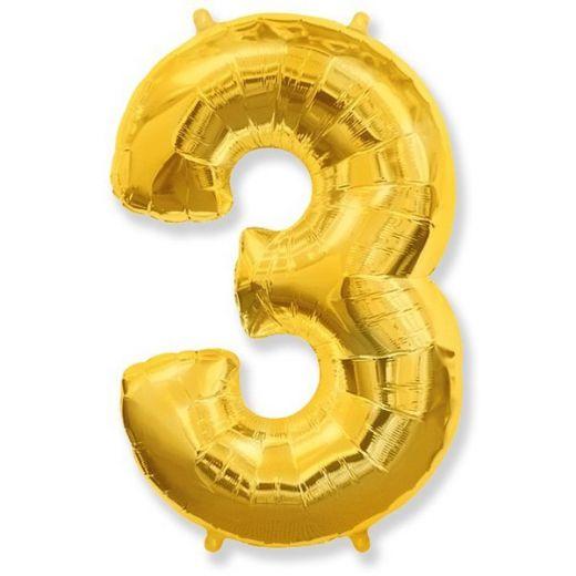 Фигурный шарик из фольги Цифра 3 золото 102см
