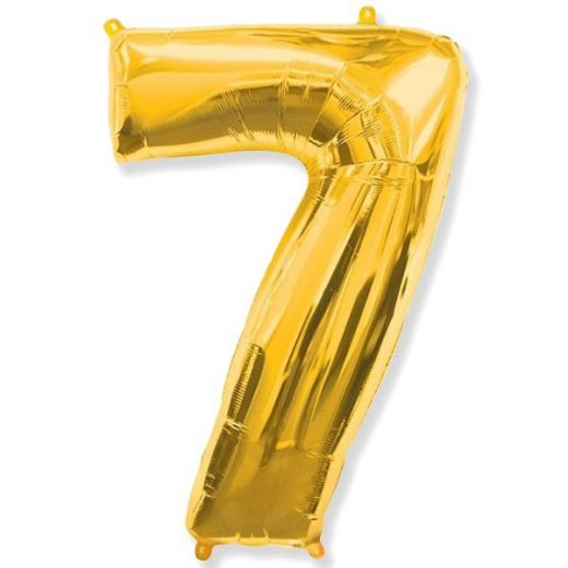 Фигурный шарик из фольги Цифра 7 золото 102см