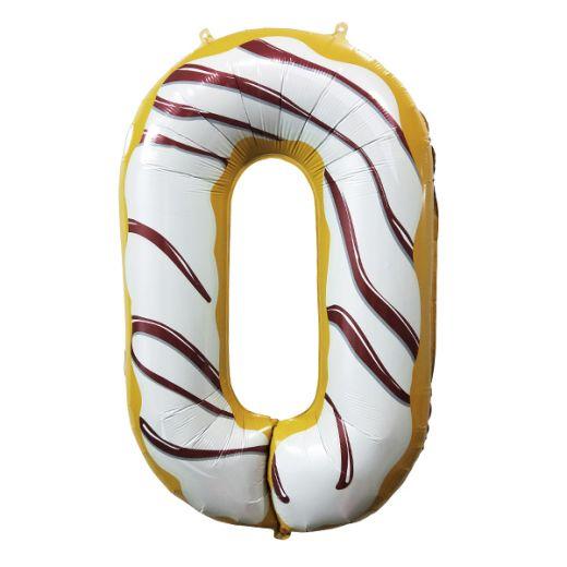 """Фигурный шарик из фольги Цифра 0 Пончик 40""""/102см"""