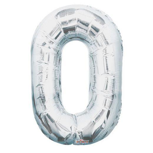 Фигурный шарик из фольги Цифра 0 серебро 86см
