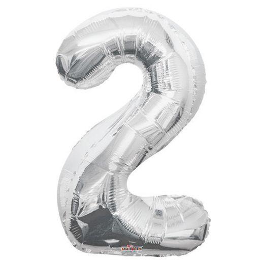 Фигурный шарик из фольги Цифра 2 серебро 86см