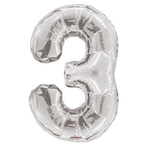 Фигурный шарик из фольги Цифра 3 серебро 86см