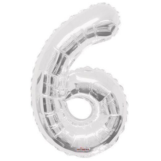 Фигурный шарик из фольги Цифра 6 серебро 86см