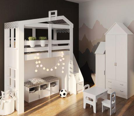 Композиция с двухъярусной кроватью-домиком Сказка и модулями для хранения