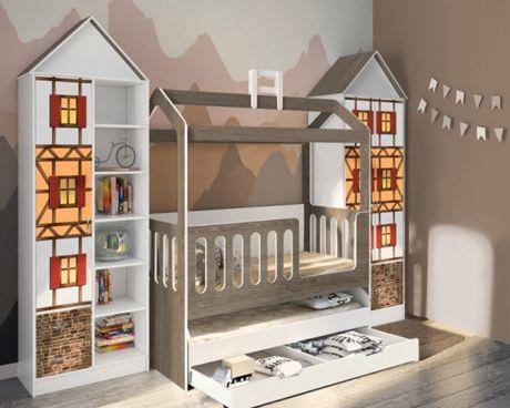 Композиция с кроватью Сказка и шкафами-домиками