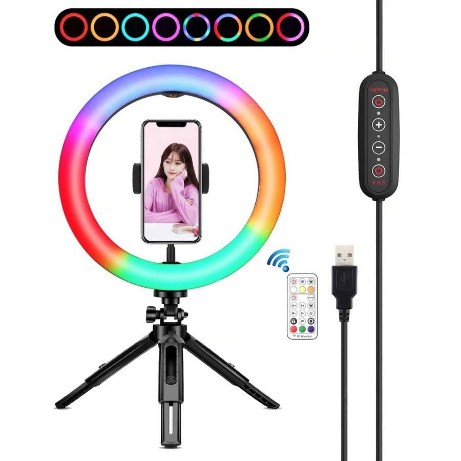 Огонек OG-SMH06 лампа кольцевидная RGB с триподом (26см)