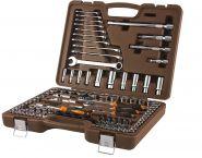 """911120 Специальный набор инструмента, торцевые головки 1/4"""", 3/8"""", 1/2""""DR, 4-32 мм и SAE 5/32""""--1-1/4"""", ударные торцевые головки 1/2""""DR, 17-23 мм, 120 предметов"""
