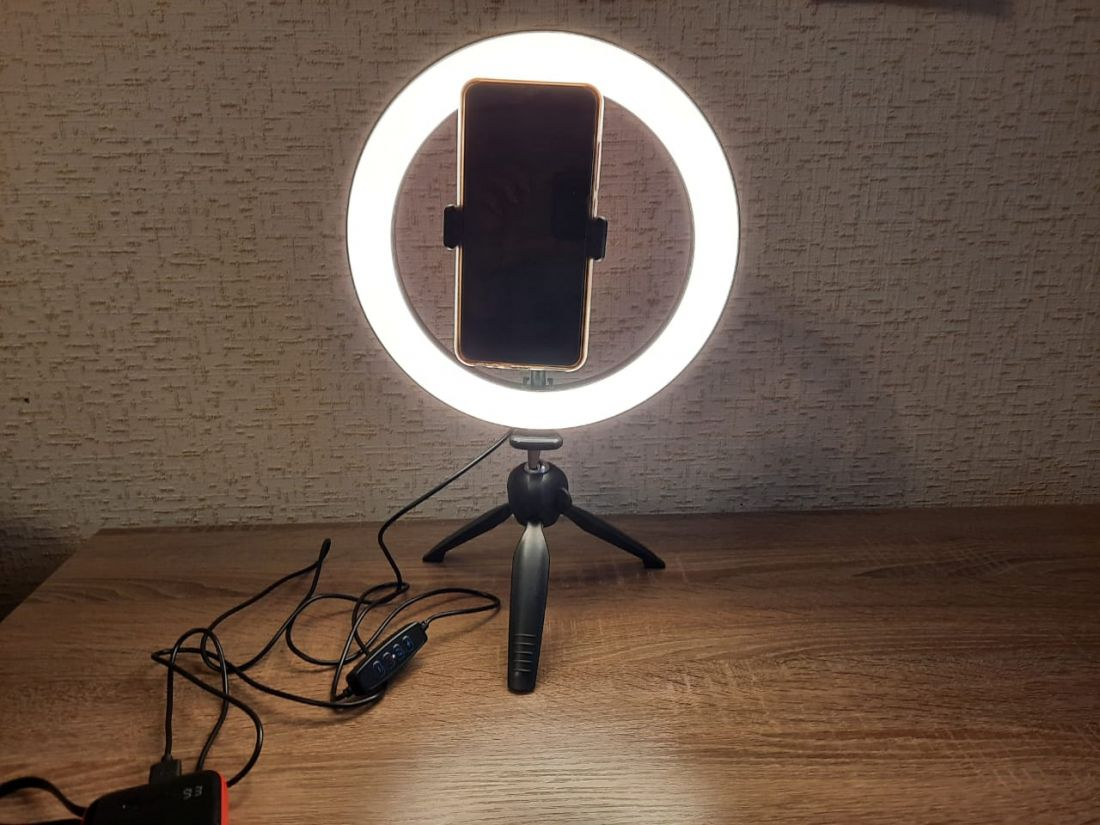 Кольцевая лампа 26 см с настольным штативом