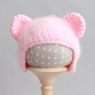 Вязаная шапочка Медвежонок пушистый Розовый