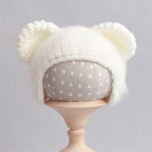 Вязаная шапочка Медвежонок пушистый Молочный