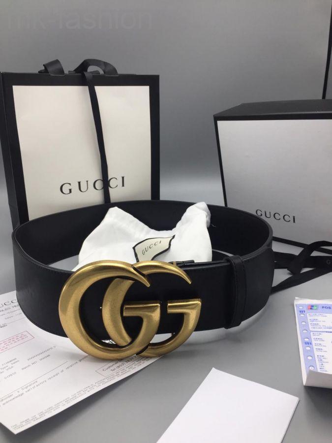 Ремень широкий Gucci черный
