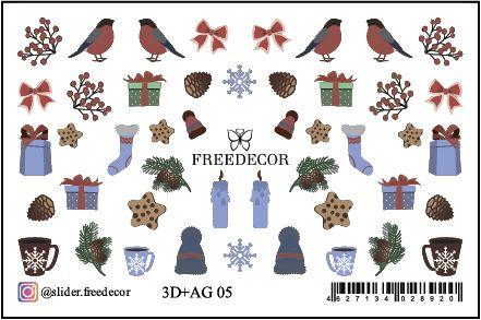 FREEDECOR 3D слайдер дизайн с аэрографией Арт. 3D+AG 05 Новый год