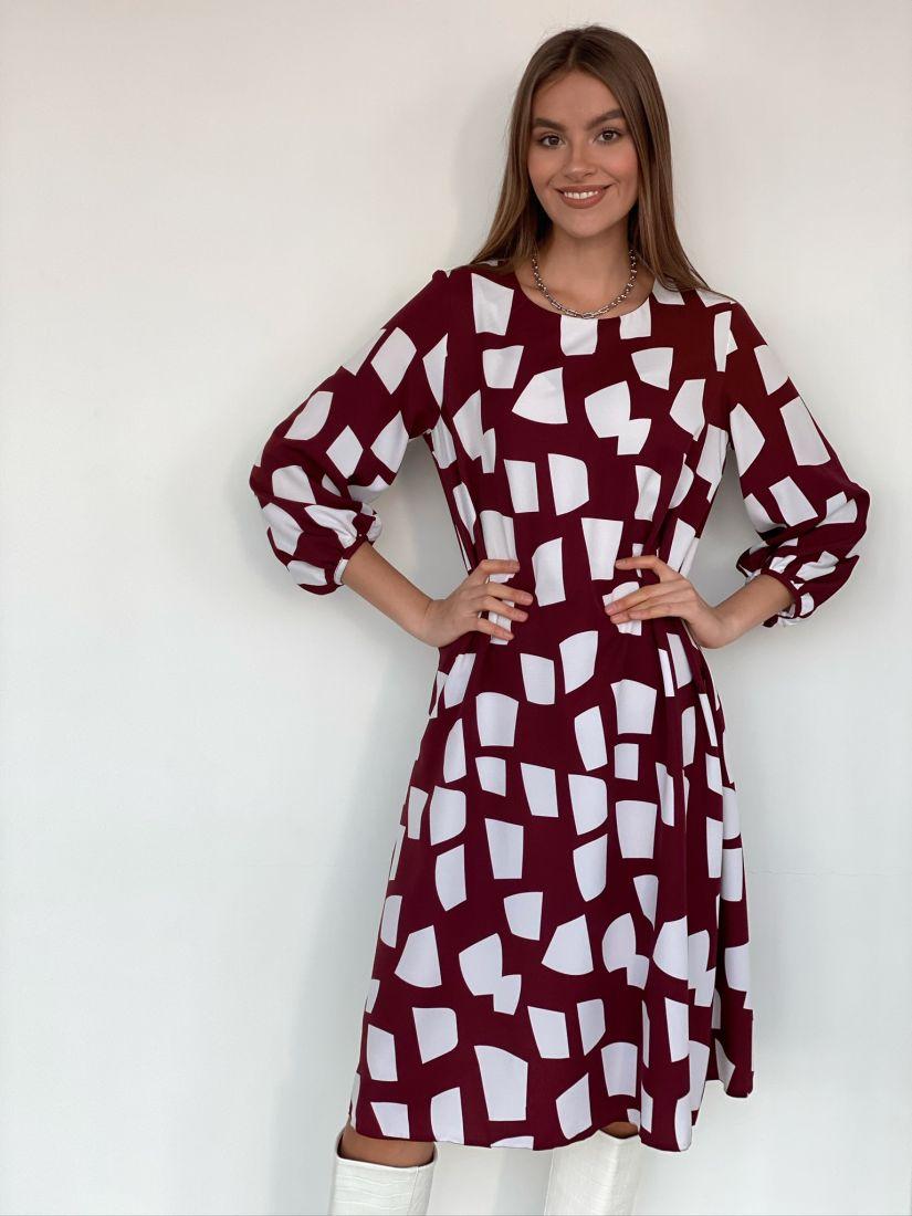 s1946 Платье струящееся с объёмными рукавами