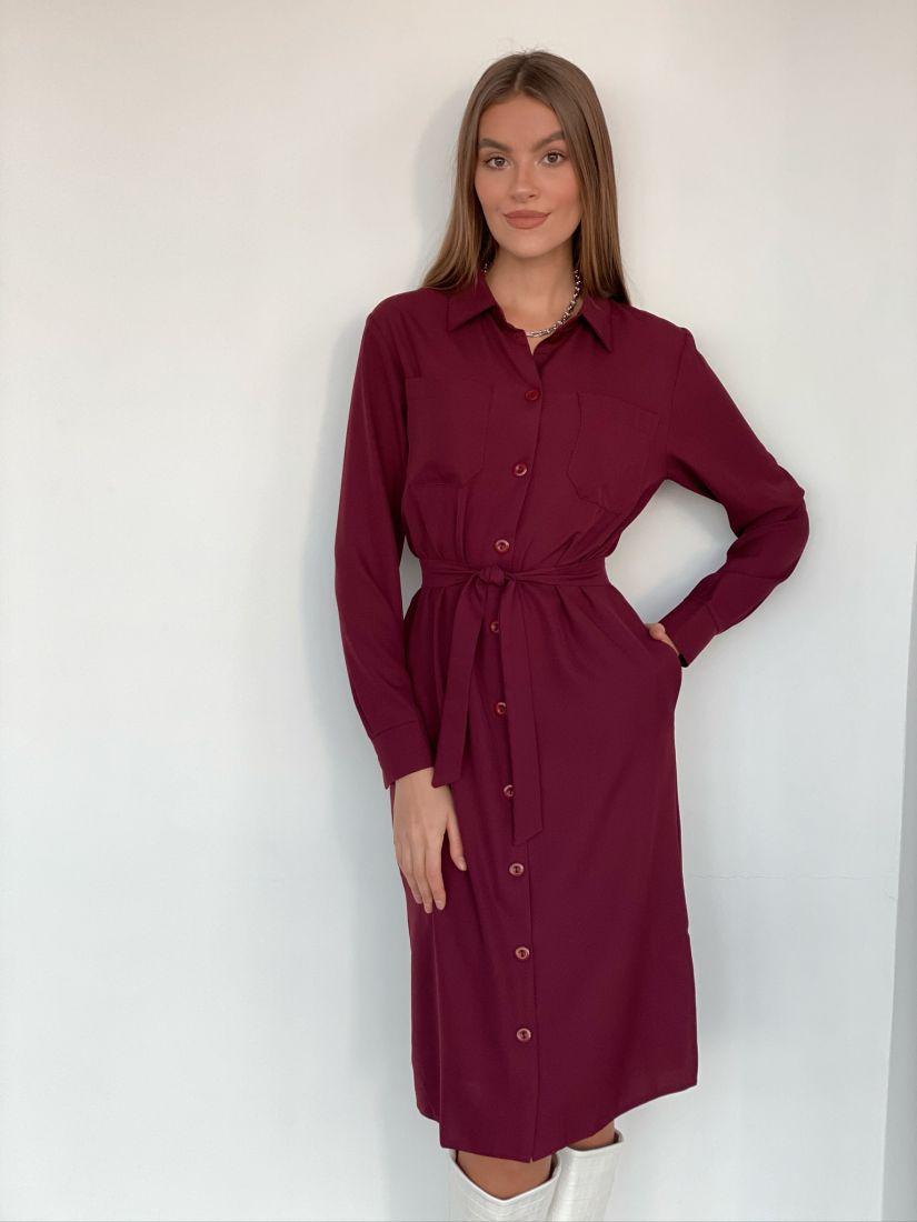 s1945 Платье-рубашка из крепа в цвете бордо