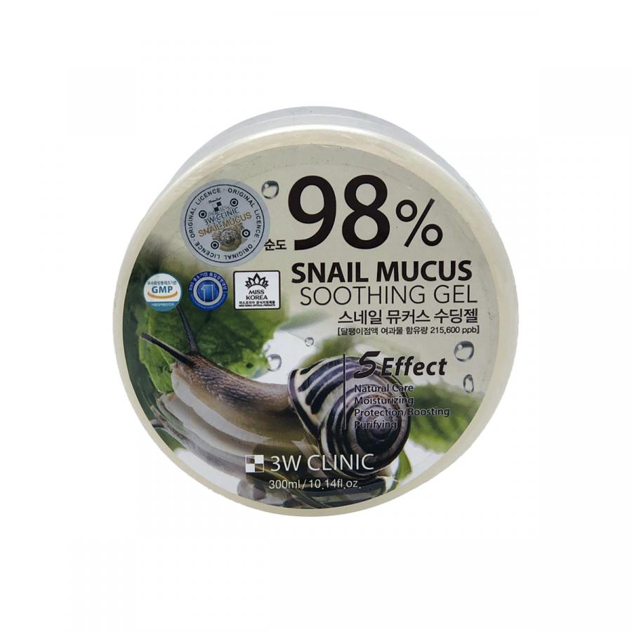 Универсальный гель с муцином улитки 3W Clinic Snail Mucus Soothing Gel (purity 98%) (300 гр)