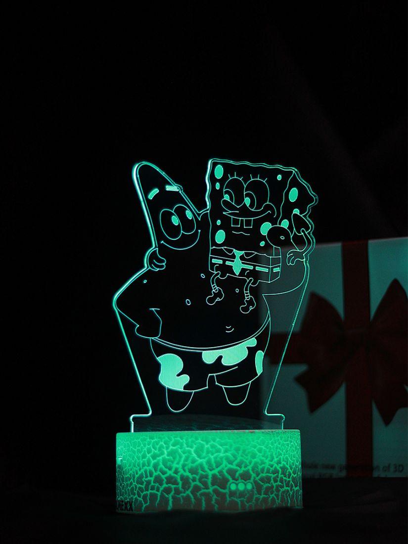 Светодиодный ночник PALMEXX 3D светильник LED RGB 7 цветов (спанч боб и патрик)
