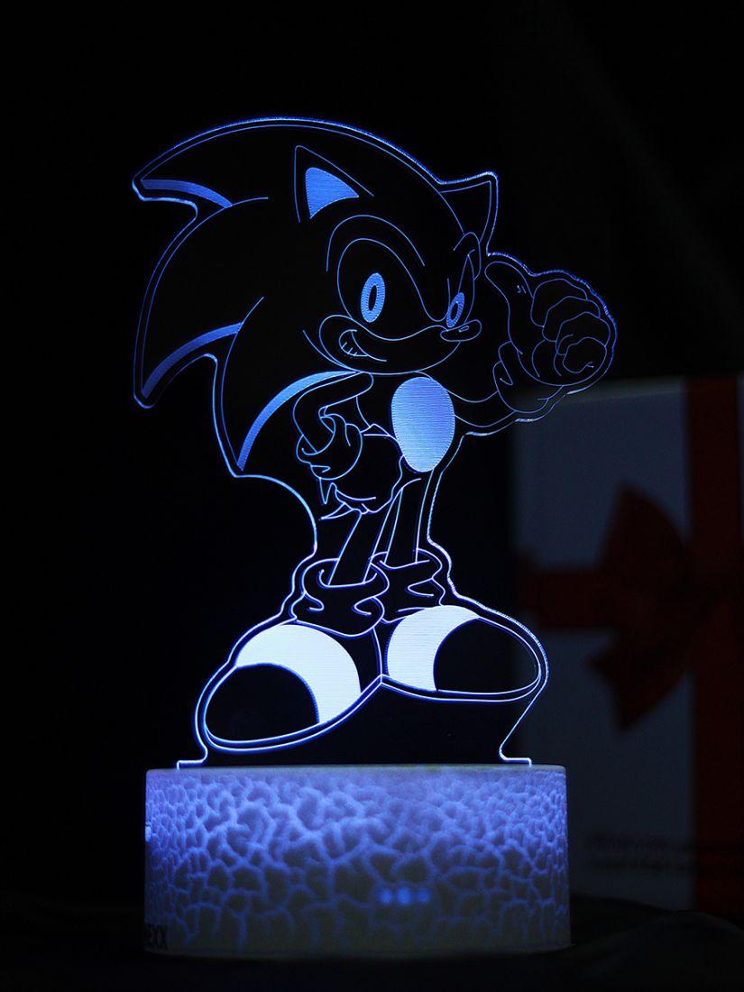 Светодиодный ночник PALMEXX 3D светильник LED RGB 7 цветов (соник)