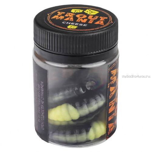 """Мягкие приманки Trixbait Trout Mania Lichi 1,6"""" 40 мм / упаковка 8 шт / цвет: 206 Black& Cheese (Cheese)"""